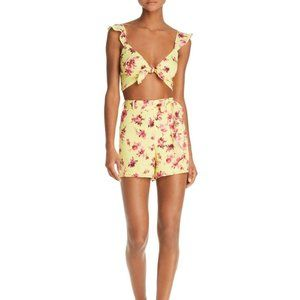 CAMI NYC Claudia Yellow Floral Pink Silk Shorts